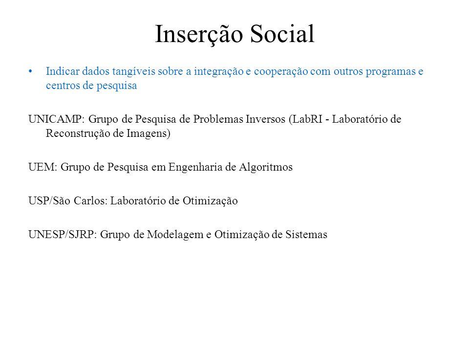 Inserção Social Indicar dados tangíveis sobre a integração e cooperação com outros programas e centros de pesquisa UNICAMP: Grupo de Pesquisa de Probl
