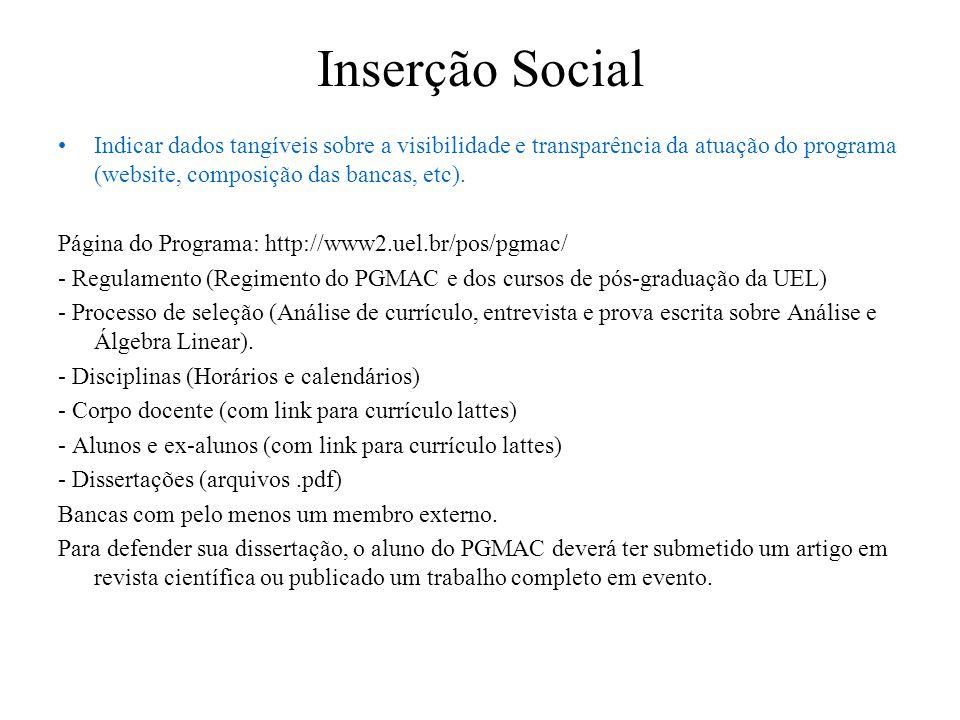 Inserção Social Indicar dados tangíveis sobre a visibilidade e transparência da atuação do programa (website, composição das bancas, etc). Página do P