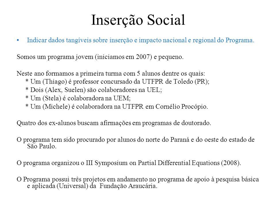 Inserção Social Indicar dados tangíveis sobre a integração e cooperação com outros programas e centros de pesquisa UNICAMP: Grupo de Pesquisa de Problemas Inversos (LabRI - Laboratório de Reconstrução de Imagens) UEM: Grupo de Pesquisa em Engenharia de Algoritmos USP/São Carlos: Laboratório de Otimização UNESP/SJRP: Grupo de Modelagem e Otimização de Sistemas