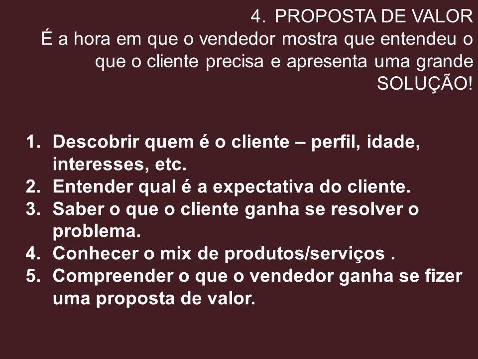 4.PROPOSTA DE VALOR É a hora em que o vendedor mostra que entendeu o que o cliente precisa e apresenta uma grande SOLUÇÃO! 1.Descobrir quem é o client