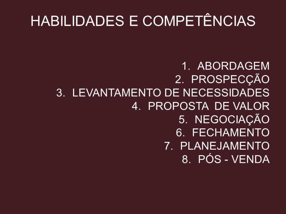 HABILIDADES E COMPETÊNCIAS 1.ABORDAGEM 2.PROSPECÇÃO 3.LEVANTAMENTO DE NECESSIDADES 4.PROPOSTA DE VALOR 5.NEGOCIAÇÃO 6.FECHAMENTO 7.PLANEJAMENTO 8.PÓS