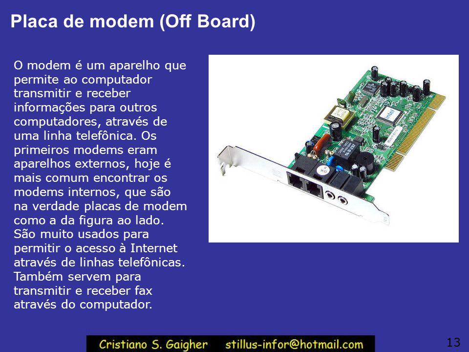Placa de modem (Off Board) O modem é um aparelho que permite ao computador transmitir e receber informações para outros computadores, através de uma l