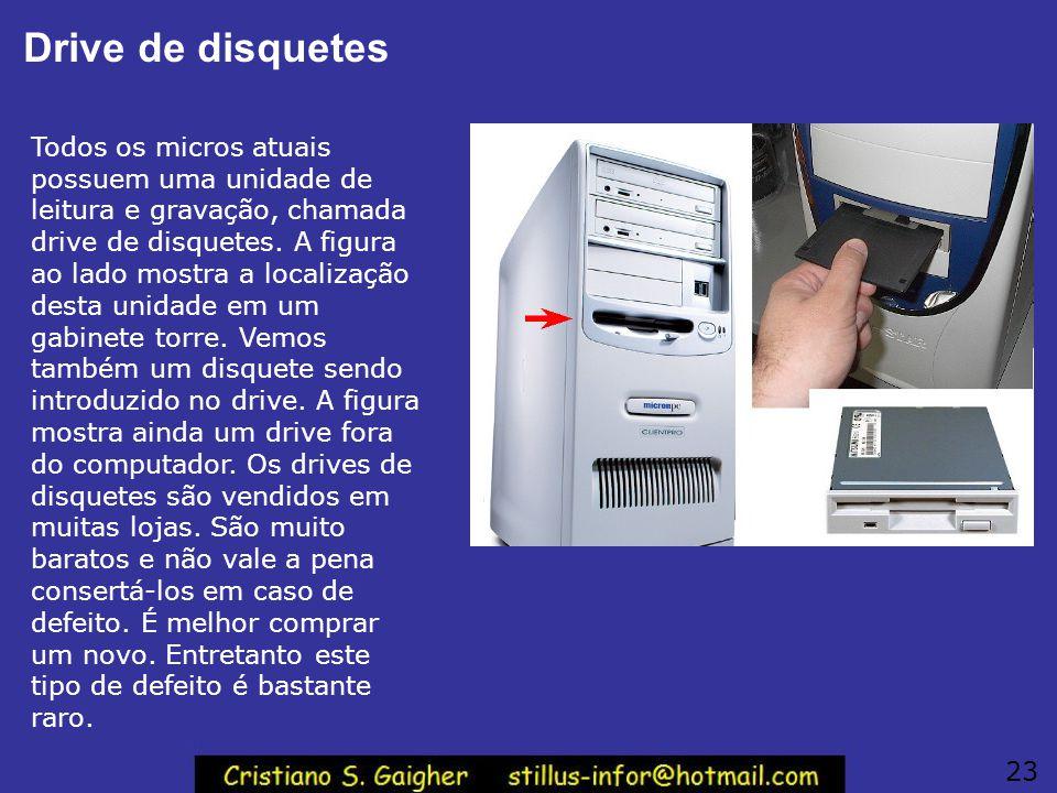 Drive de disquetes Todos os micros atuais possuem uma unidade de leitura e gravação, chamada drive de disquetes. A figura ao lado mostra a localização