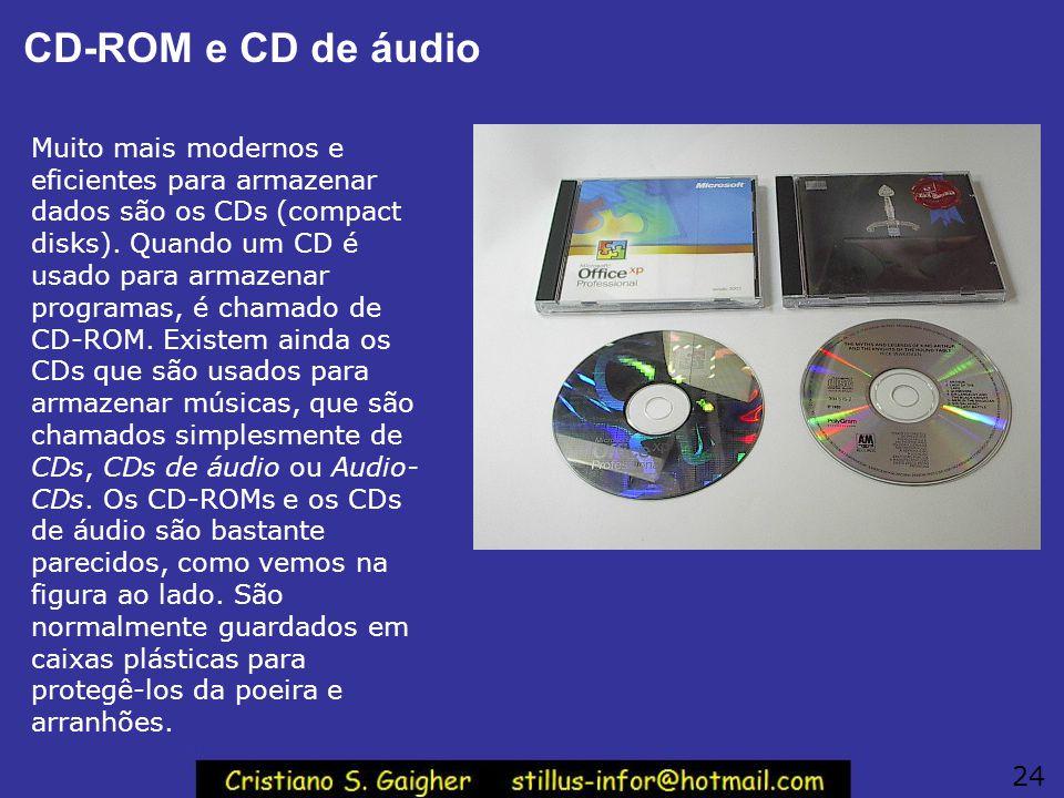 CD-ROM e CD de áudio Muito mais modernos e eficientes para armazenar dados são os CDs (compact disks). Quando um CD é usado para armazenar programas,