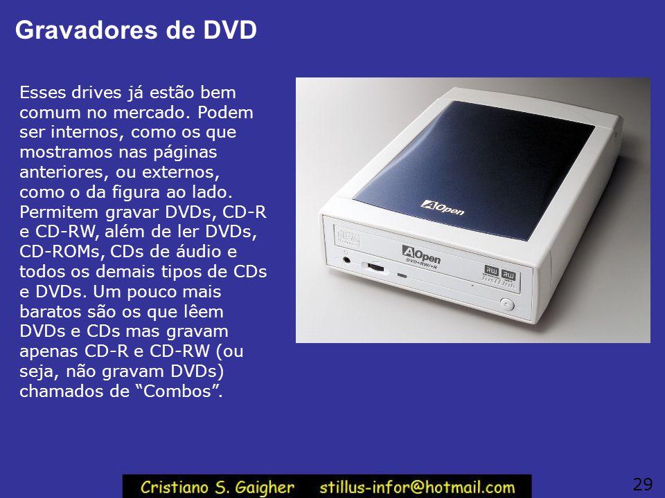 Gravadores de DVD Esses drives já estão bem comum no mercado. Podem ser internos, como os que mostramos nas páginas anteriores, ou externos, como o da