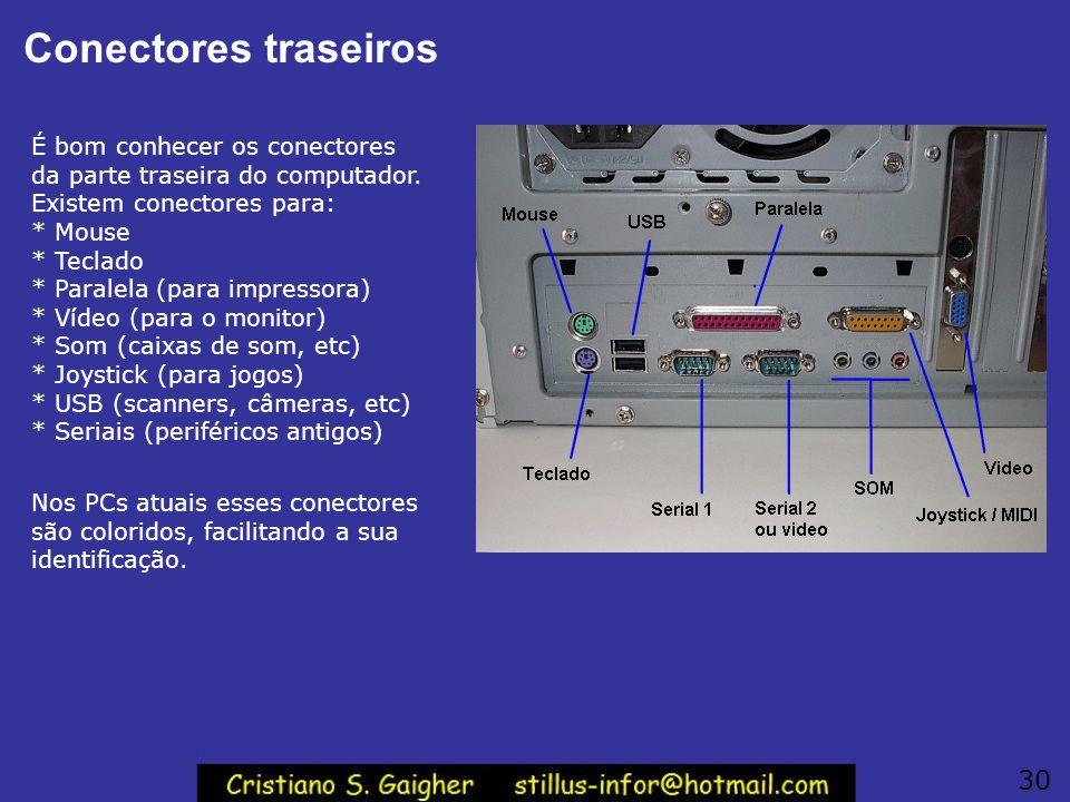 Conectores traseiros É bom conhecer os conectores da parte traseira do computador. Existem conectores para: * Mouse * Teclado * Paralela (para impress