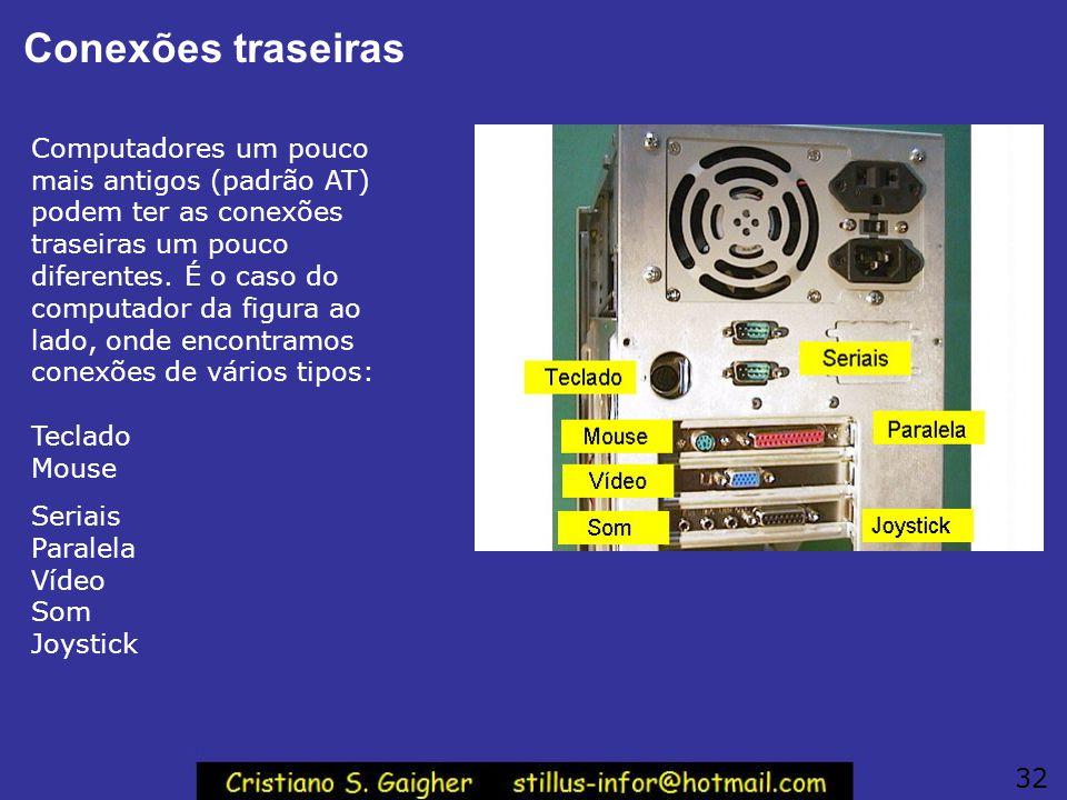 Conexões traseiras Computadores um pouco mais antigos (padrão AT) podem ter as conexões traseiras um pouco diferentes. É o caso do computador da figur