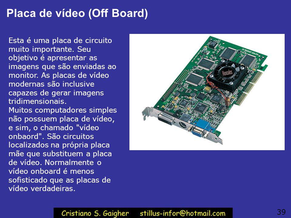 Placa de vídeo (Off Board) Esta é uma placa de circuito muito importante. Seu objetivo é apresentar as imagens que são enviadas ao monitor. As placas