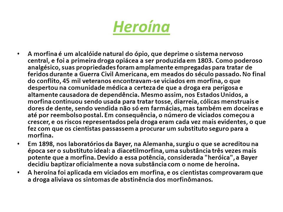 Heroína A morfina é um alcalóide natural do ópio, que deprime o sistema nervoso central, e foi a primeira droga opiácea a ser produzida em 1803.