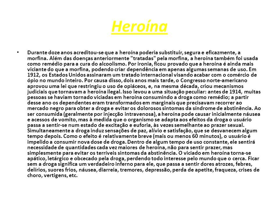 Heroína Durante doze anos acreditou-se que a heroína poderia substituir, segura e eficazmente, a morfina.
