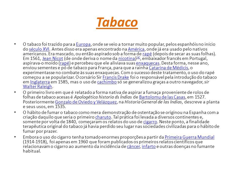 Tabaco O tabaco foi trazido para a Europa, onde se veio a tornar muito popular, pelos espanhóis no início do século XVI.