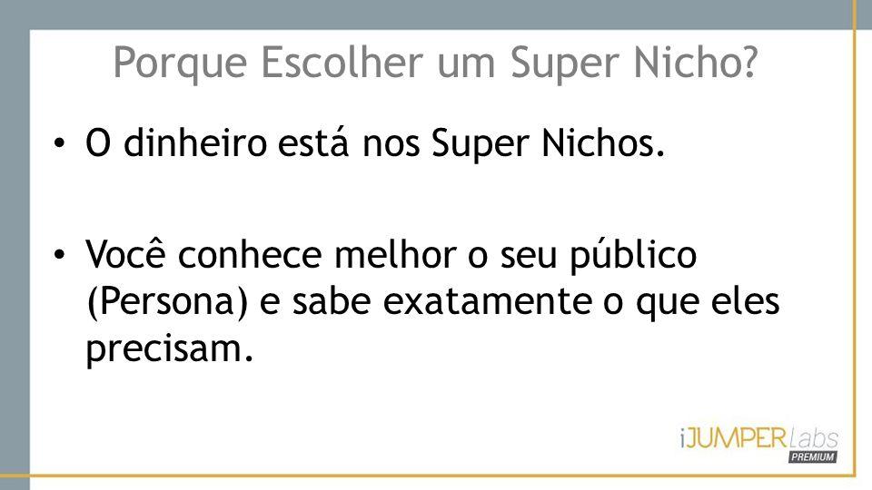 Porque Escolher um Super Nicho? O dinheiro está nos Super Nichos. Você conhece melhor o seu público (Persona) e sabe exatamente o que eles precisam.