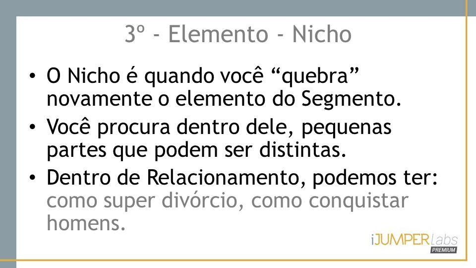 """3º - Elemento - Nicho O Nicho é quando você """"quebra"""" novamente o elemento do Segmento. Você procura dentro dele, pequenas partes que podem ser distint"""