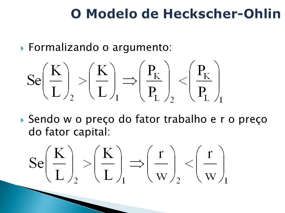  Formalizando o argumento:  Sendo w o preço do fator trabalho e r o preço do fator capital: