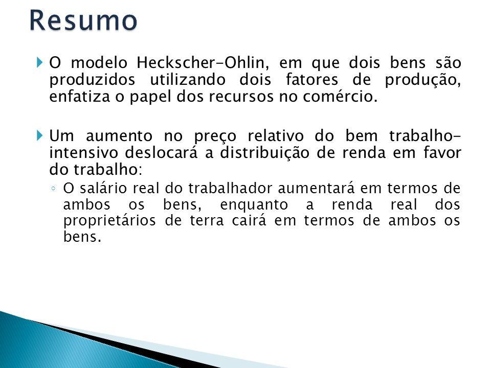  O modelo Heckscher-Ohlin, em que dois bens são produzidos utilizando dois fatores de produção, enfatiza o papel dos recursos no comércio.  Um aumen