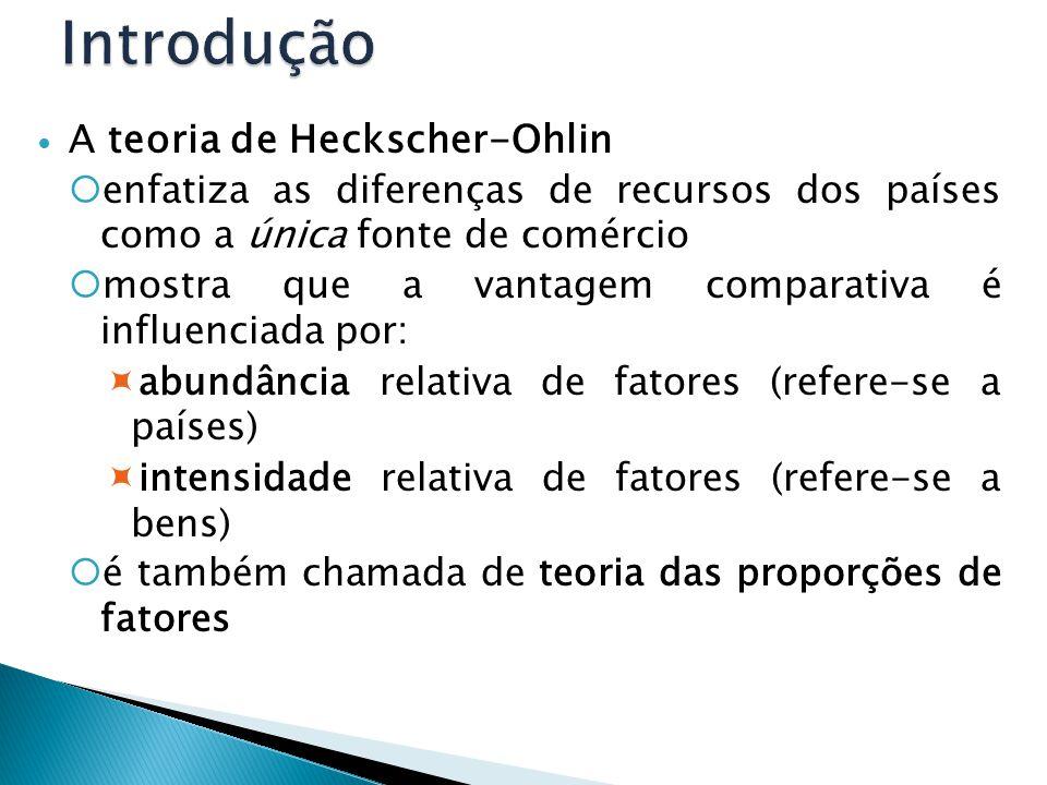 A teoria de Heckscher-Ohlin  enfatiza as diferenças de recursos dos países como a única fonte de comércio  mostra que a vantagem comparativa é influ