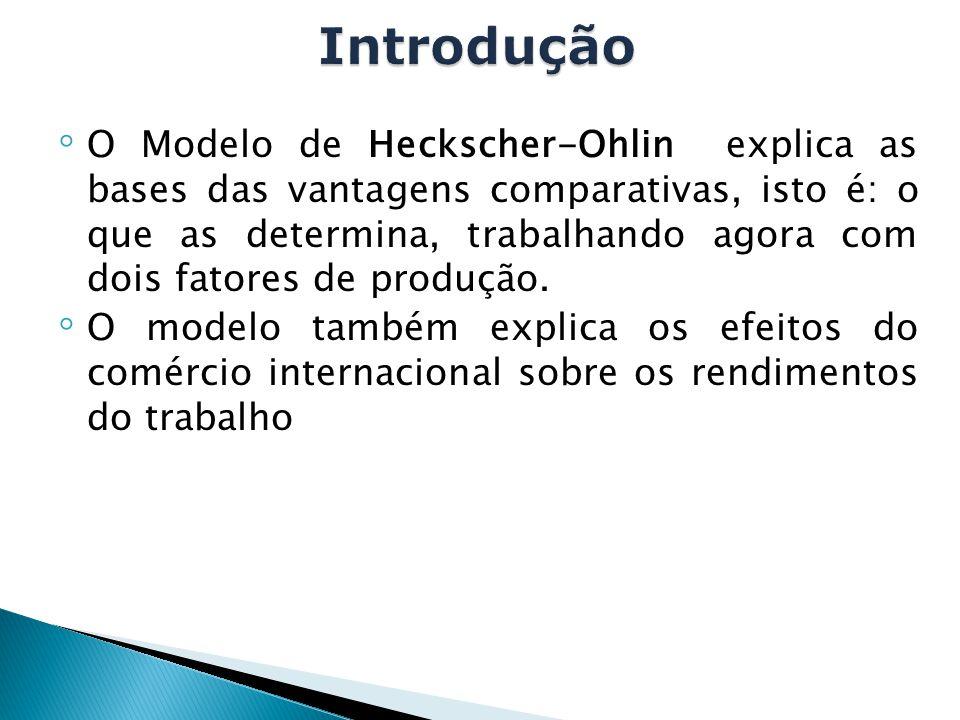 ◦ O Modelo de Heckscher-Ohlin explica as bases das vantagens comparativas, isto é: o que as determina, trabalhando agora com dois fatores de produção.