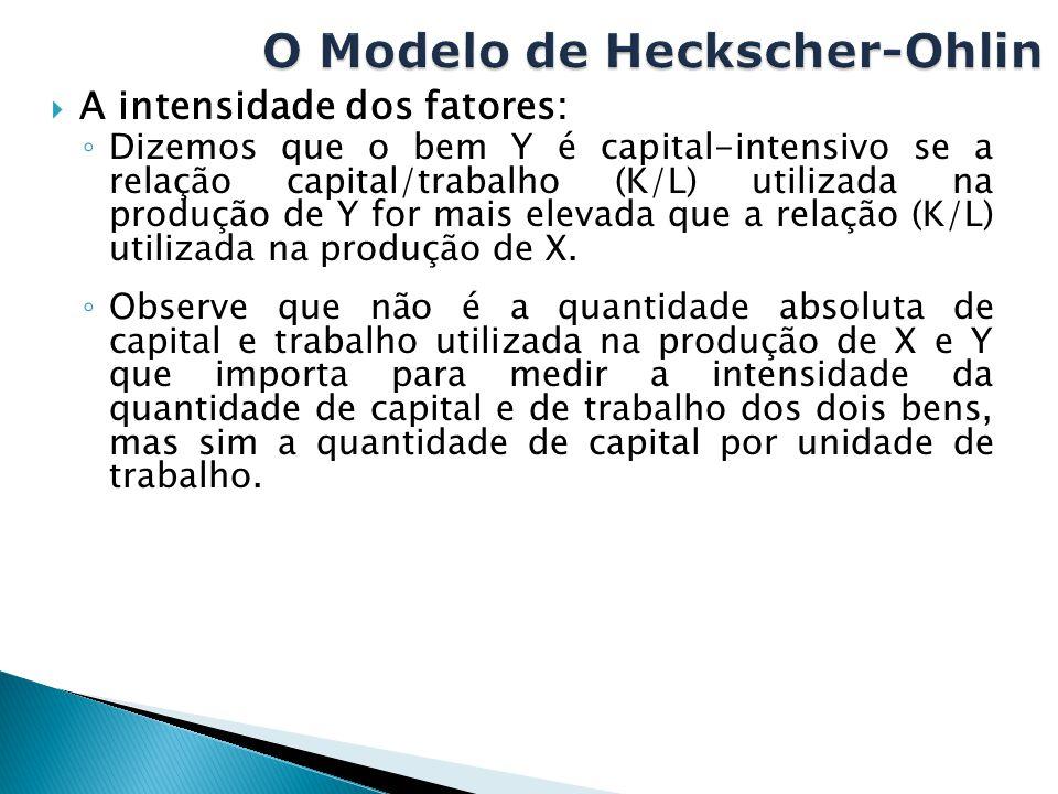  A intensidade dos fatores: ◦ Dizemos que o bem Y é capital-intensivo se a relação capital/trabalho (K/L) utilizada na produção de Y for mais elevada
