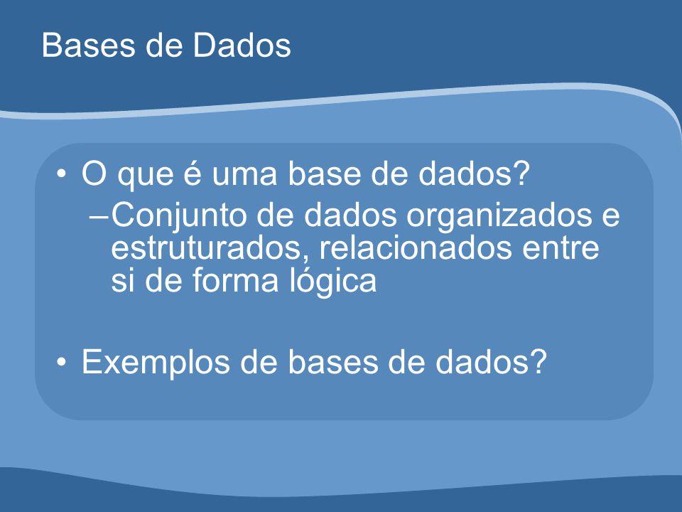 Bases de Dados O que é uma base de dados.