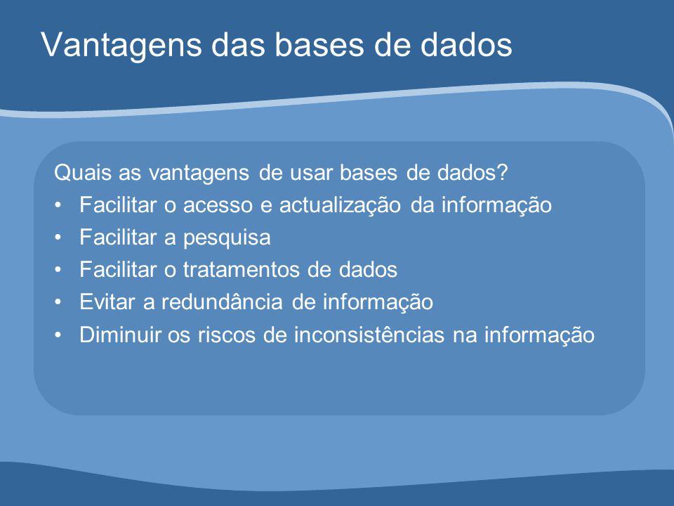 Vantagens das bases de dados Quais as vantagens de usar bases de dados.