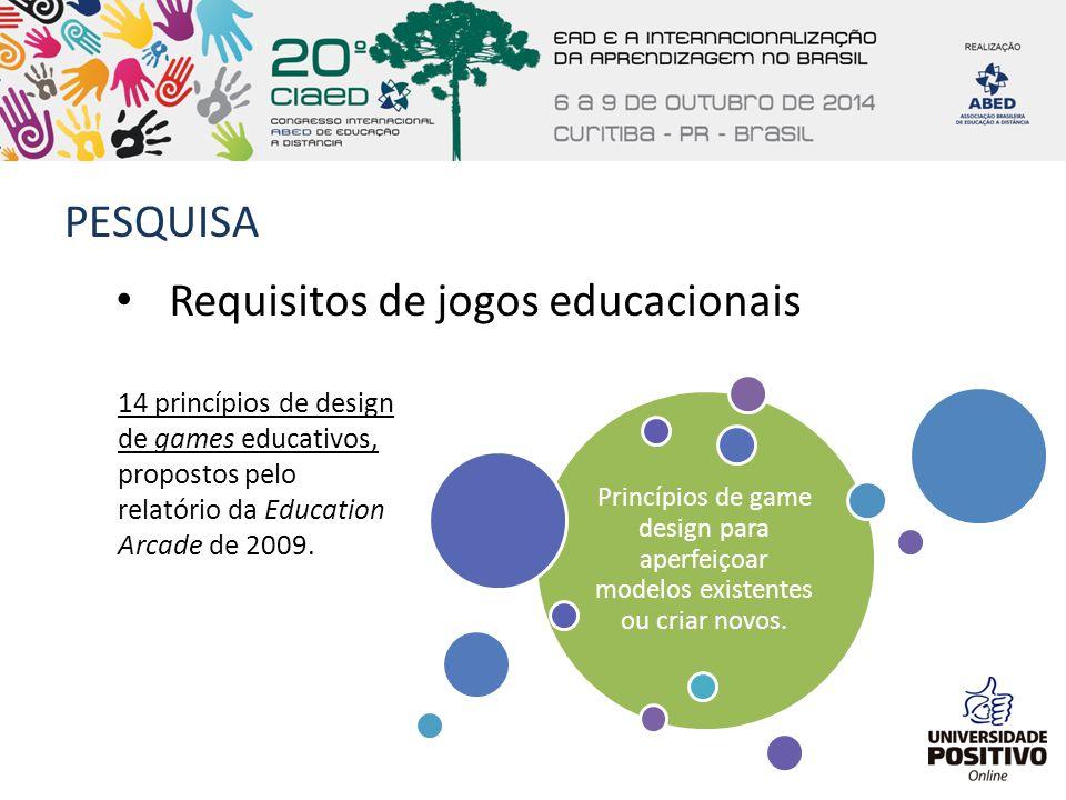 PESQUISA 14 princípios de design de games educativos, propostos pelo relatório da Education Arcade de 2009. Requisitos de jogos educacionais Princípio