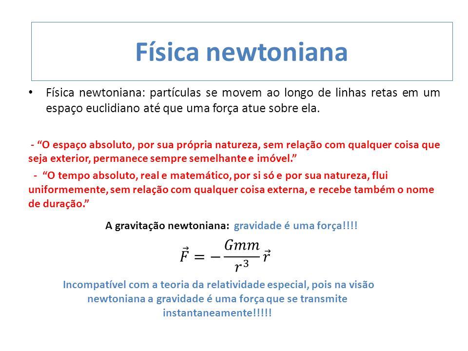 """Física newtoniana: partículas se movem ao longo de linhas retas em um espaço euclidiano até que uma força atue sobre ela. - """"O espaço absoluto, por su"""