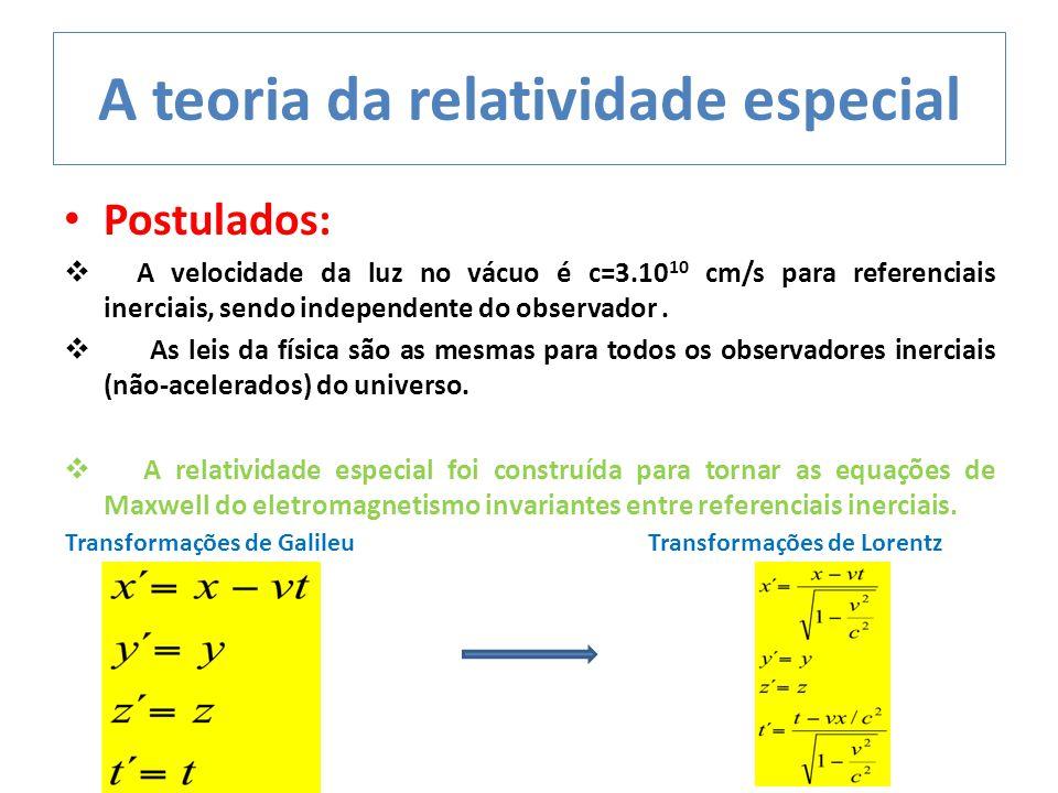 A teoria da relatividade especial Postulados:  A velocidade da luz no vácuo é c=3.10 10 cm/s para referenciais inerciais, sendo independente do obser