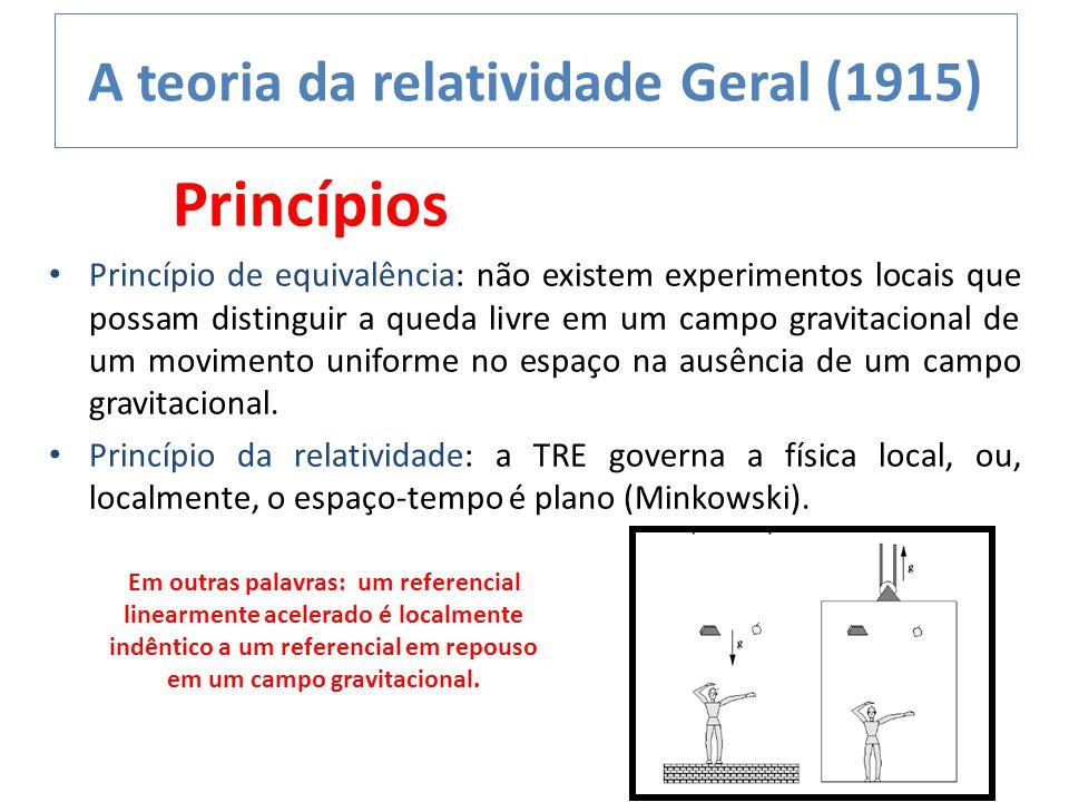 A teoria da relatividade Geral (1915) Princípios Princípio de equivalência: não existem experimentos locais que possam distinguir a queda livre em um