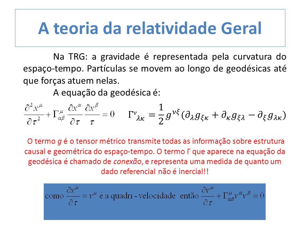 Na TRG: a gravidade é representada pela curvatura do espaço-tempo. Partículas se movem ao longo de geodésicas até que forças atuem nelas. A equação da