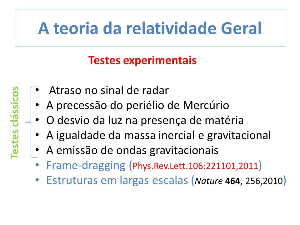 Testes experimentais Atraso no sinal de radar A precessão do periélio de Mercúrio O desvio da luz na presença de matéria A igualdade da massa inercial