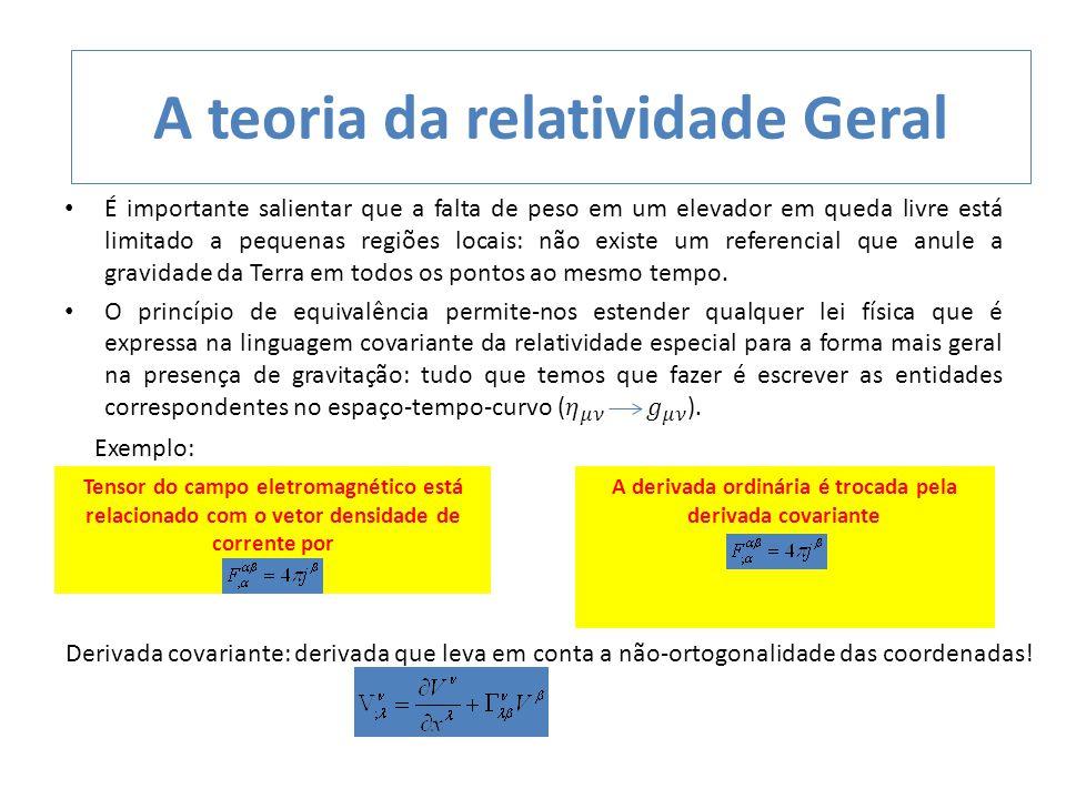 A teoria da relatividade Geral Tensor do campo eletromagnético está relacionado com o vetor densidade de corrente por A derivada ordinária é trocada p
