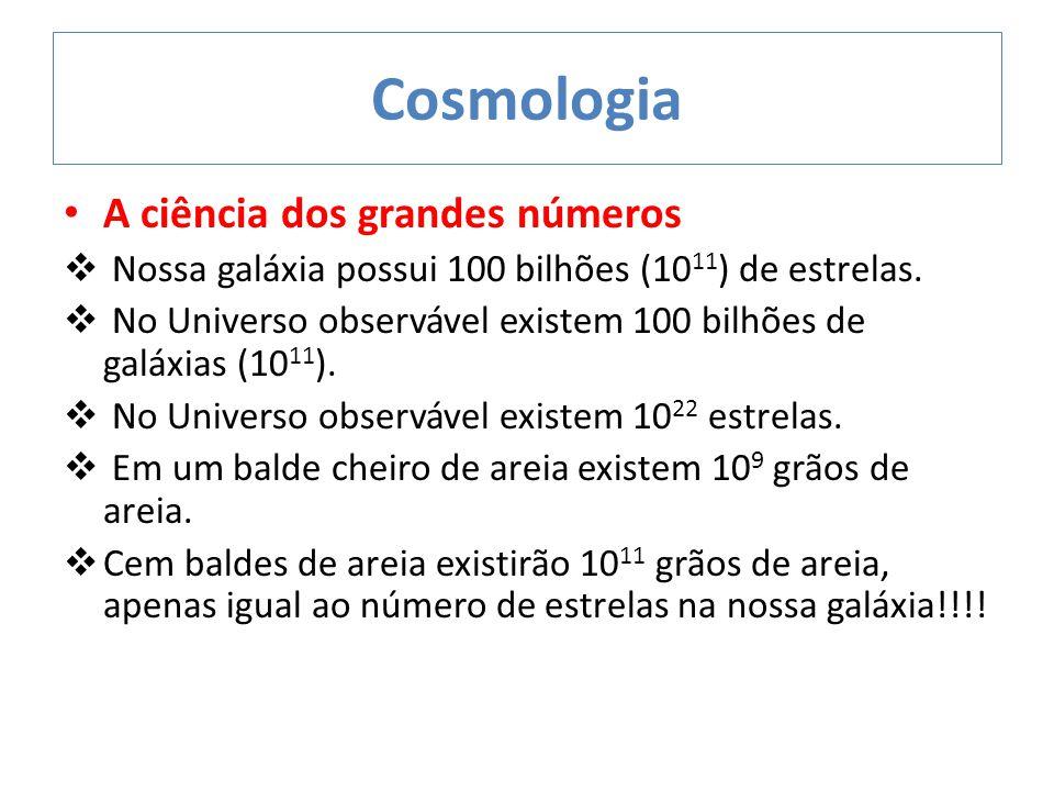 Cosmologia A ciência dos grandes números  Nossa galáxia possui 100 bilhões (10 11 ) de estrelas.  No Universo observável existem 100 bilhões de galá
