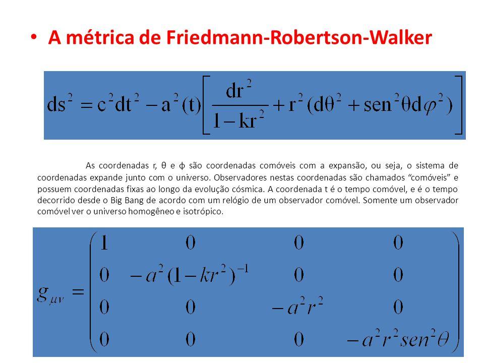 A métrica de Friedmann-Robertson-Walker As coordenadas r, θ e φ são coordenadas comóveis com a expansão, ou seja, o sistema de coordenadas expande jun