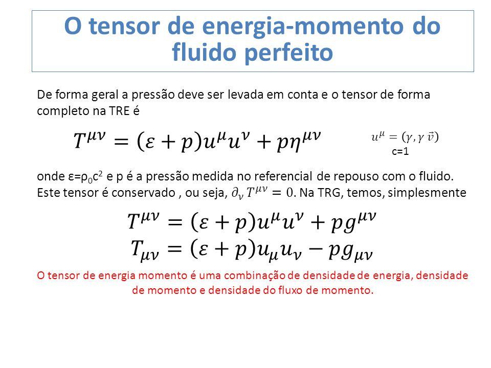 O tensor de energia-momento do fluido perfeito O tensor de energia momento é uma combinação de densidade de energia, densidade de momento e densidade