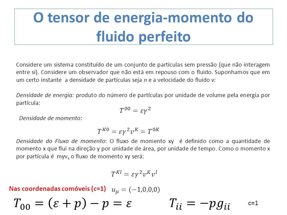 O tensor de energia-momento do fluido perfeito Considere um sistema constituído de um conjunto de partículas sem pressão (que não interagem entre si).