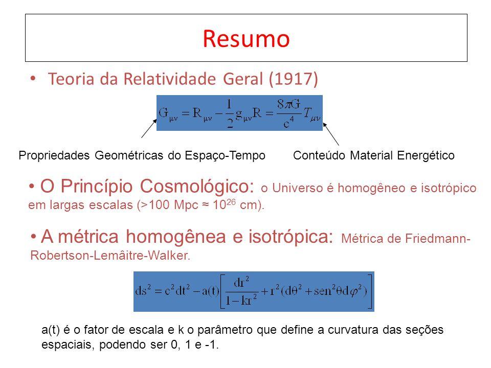 Resumo Teoria da Relatividade Geral (1917) Propriedades Geométricas do Espaço-TempoConteúdo Material Energético O Princípio Cosmológico: o Universo é