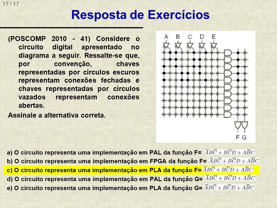 17 / 17 Resposta de Exercícios (POSCOMP 2010 - 41) Considere o circuito digital apresentado no diagrama a seguir. Ressalte-se que, por convenção, chav