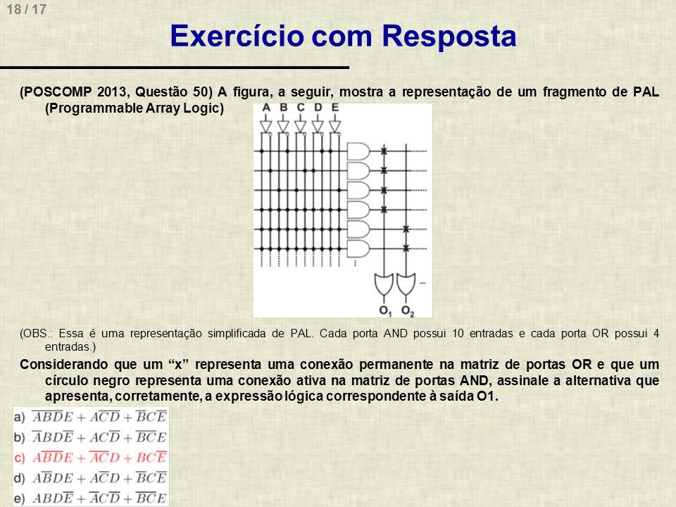 18 / 17 Exercício com Resposta (POSCOMP 2013, Questão 50) A figura, a seguir, mostra a representação de um fragmento de PAL (Programmable Array Logic)