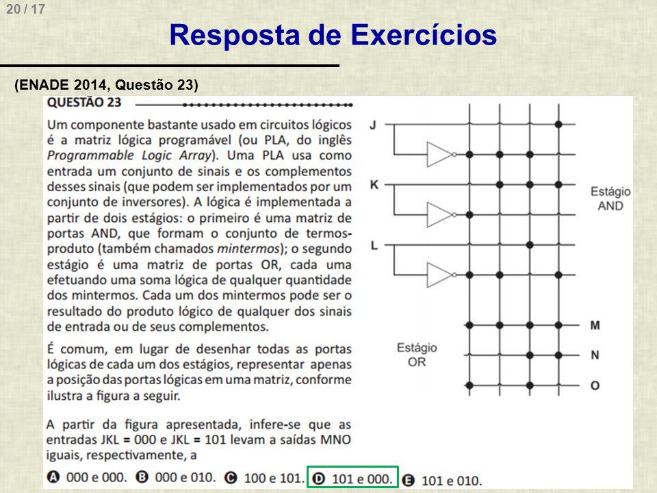 20 / 17 Resposta de Exercícios (ENADE 2014, Questão 23)