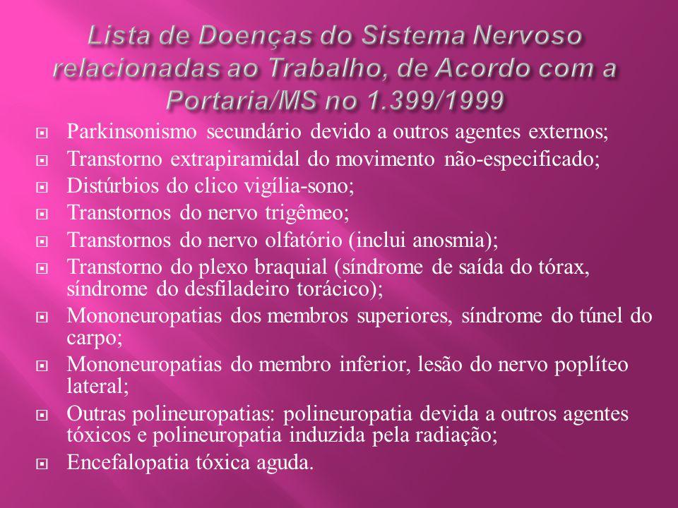  Parkinsonismo secundário devido a outros agentes externos;  Transtorno extrapiramidal do movimento não-especificado;  Distúrbios do clico vigília-