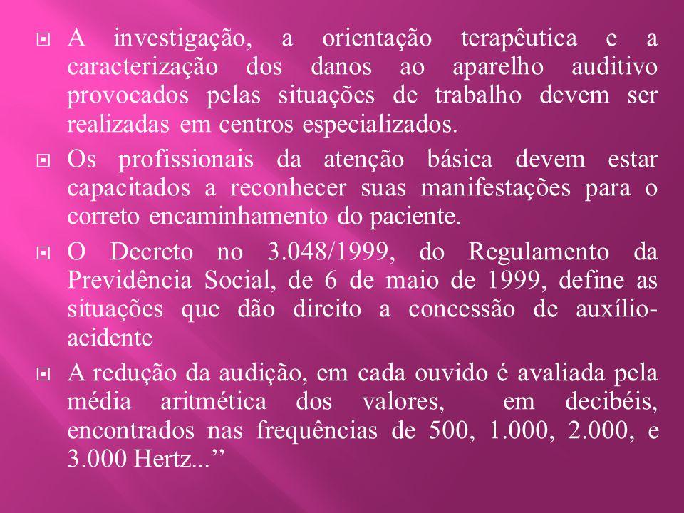  A investigação, a orientação terapêutica e a caracterização dos danos ao aparelho auditivo provocados pelas situações de trabalho devem ser realizad