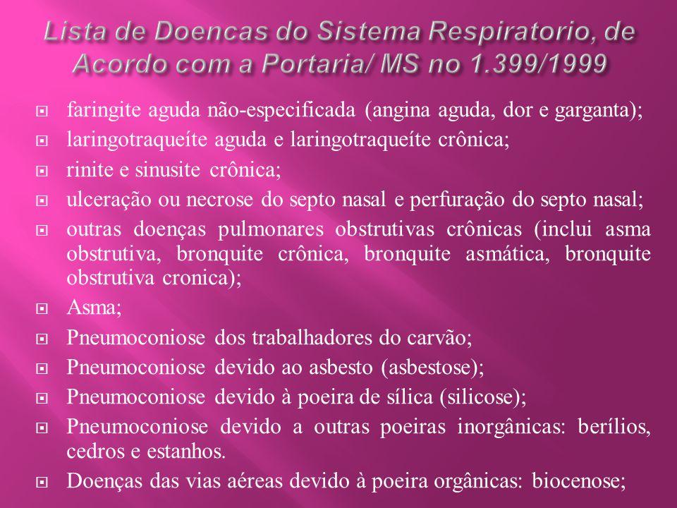  faringite aguda não-especificada (angina aguda, dor e garganta);  laringotraqueíte aguda e laringotraqueíte crônica;  rinite e sinusite crônica; 