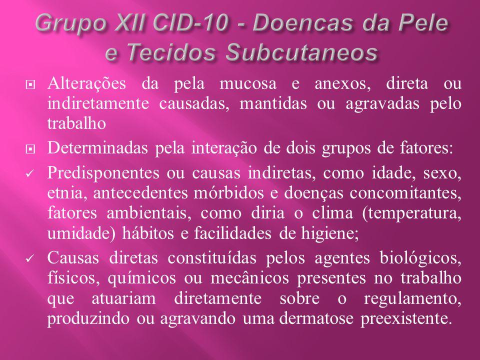  Alterações da pela mucosa e anexos, direta ou indiretamente causadas, mantidas ou agravadas pelo trabalho  Determinadas pela interação de dois grup