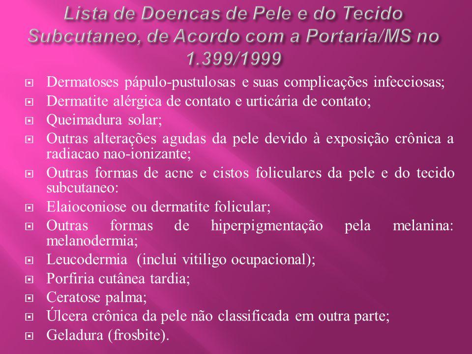  Dermatoses pápulo-pustulosas e suas complicações infecciosas;  Dermatite alérgica de contato e urticária de contato;  Queimadura solar;  Outras a