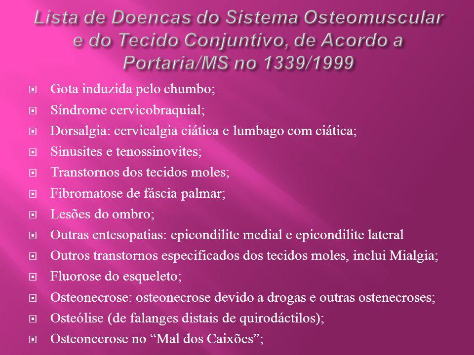  Gota induzida pelo chumbo;  Síndrome cervicobraquial;  Dorsalgia: cervicalgia ciática e lumbago com ciática;  Sinusites e tenossinovites;  Trans