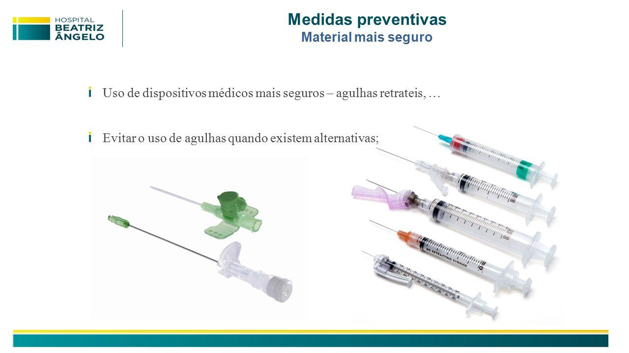 Medidas preventivas Material mais seguro Uso de dispositivos médicos mais seguros – agulhas retrateis, … Evitar o uso de agulhas quando existem alternativas;