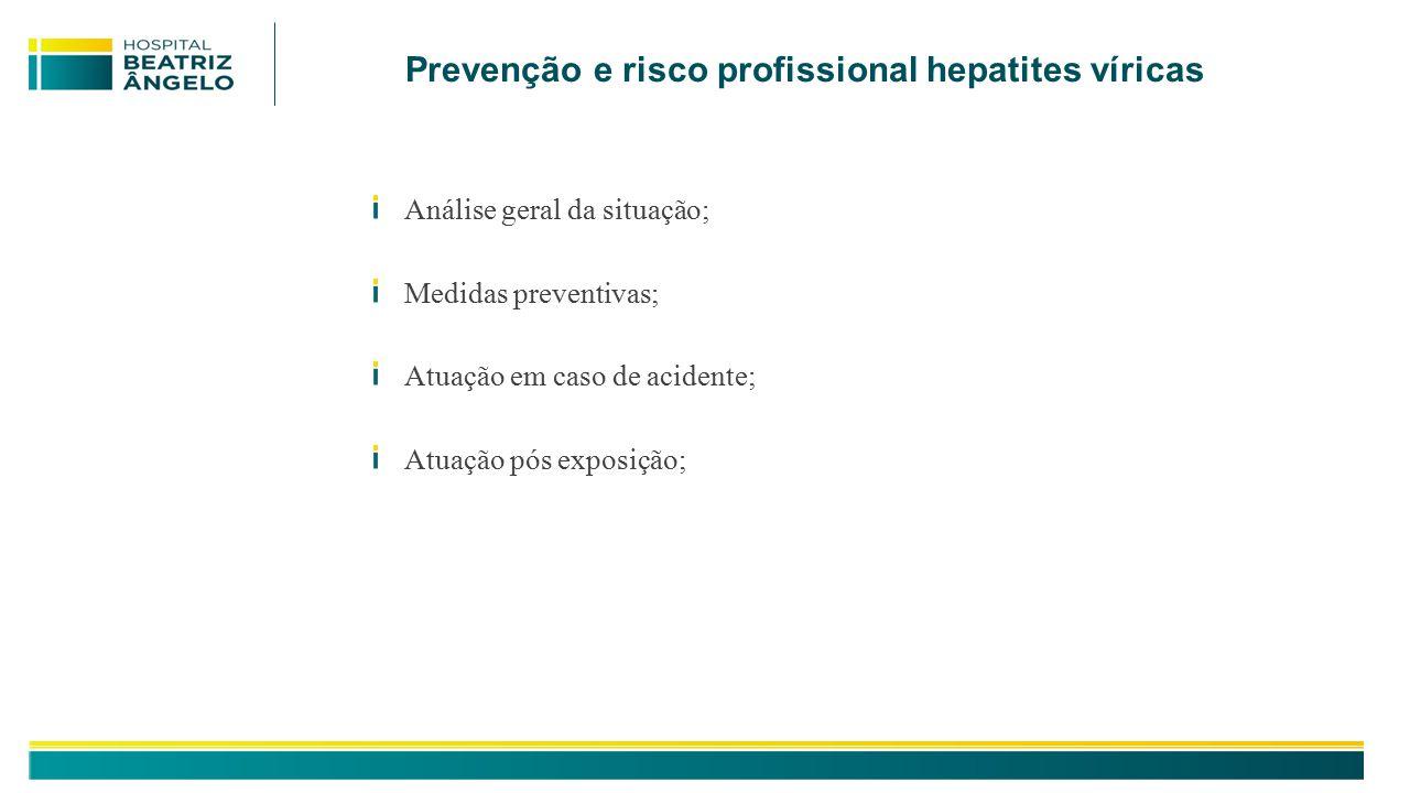 Análise geral da situação; Medidas preventivas; Atuação em caso de acidente; Atuação pós exposição; Prevenção e risco profissional hepatites víricas