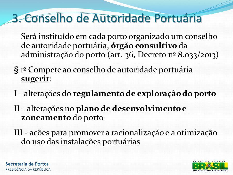 3. Conselho de Autoridade Portuária Será instituído em cada porto organizado um conselho de autoridade portuária, órgão consultivo da administração do