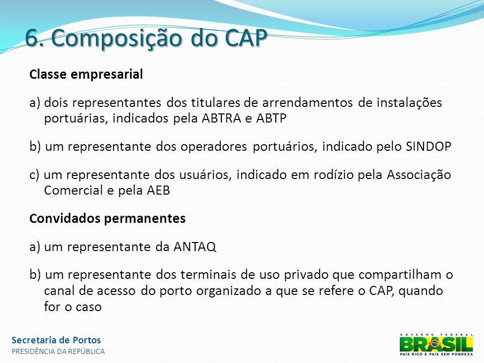 6. Composição do CAP Classe empresarial a) dois representantes dos titulares de arrendamentos de instalações portuárias, indicados pela ABTRA e ABTP b