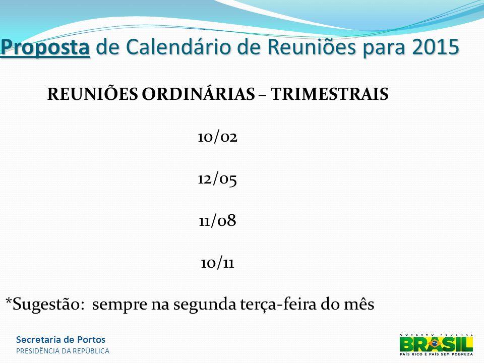 Proposta de Calendário de Reuniões para 2015 REUNIÕES ORDINÁRIAS – TRIMESTRAIS 10/02 12/05 11/08 10/11 *Sugestão: sempre na segunda terça-feira do mês